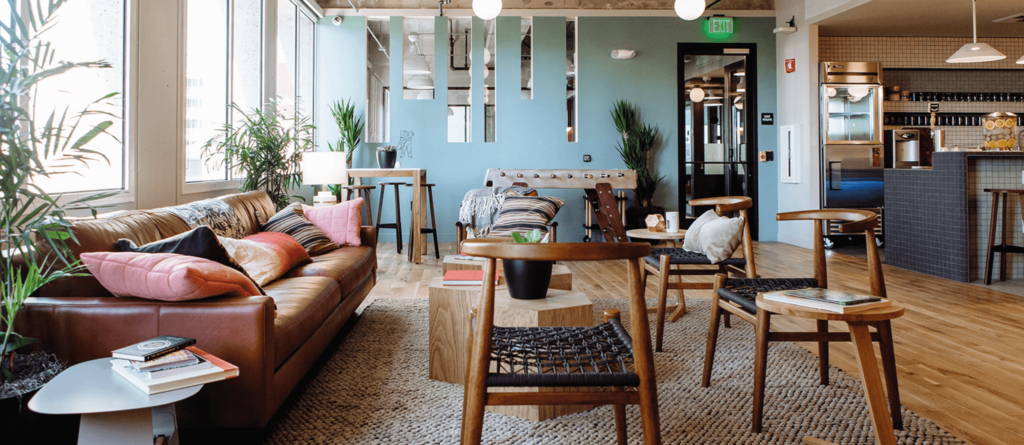 WeWork office with eco-friendly flooring